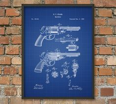 Revolver Patent Wall Art Poster by QuantumPrints on Etsy