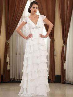 Sheath/Column V-neck Chiffon Floor-length White Tiered Wedding Dresses at Msdressy