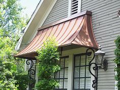 Copper Awning for the master bedroom door leading to the backyard Copper Awning, Metal Awning, Copper Roof, Metal Roof, Copper Gutters, Front Door Awning, Window Awnings, House Awnings, Porch Awning