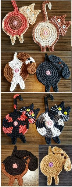 Peeking Dog and Peeking Cat Butt Coasters