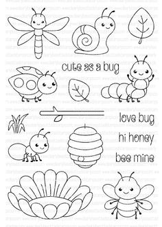 Clearly Besotted CUTE AS A BUG Clear Stamp Set zoom image