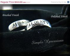 20 OFF  2 Rings  Matching Promise Rings  Brushed or by SXpressions