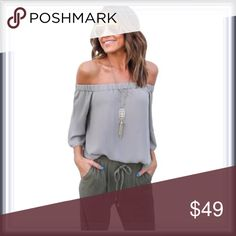 🆕 Gray Off The Shoulder Top ➖SIZE: Small, Medium, Large ➖STYLE: A gray off the shoulder top.   ❌NO TRADE Tops Blouses