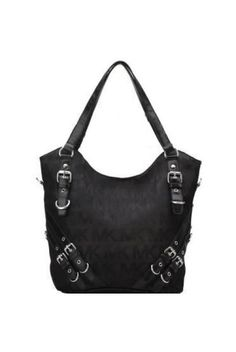 b24e006b1c Michael Kors Dark Black Buckle Decorated Tote Michael Kors Handbags Sale