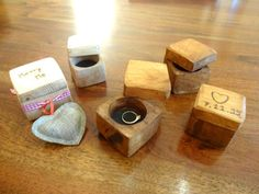 Engagement Ring Box (engraved,with your photo) - Rustic Wedding Wood Ring - Hand Made