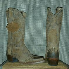 new!!! w/tags SONORA super distressed boots NWT SIZE 7.....Brown tones.. square front...and very distressed REAL leather...very cool brass rivit design...retail for $239!!!!   Will post on M for lower..just ask. :)... Shoes