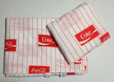 Full Sheet Set 2 Pillowcases White with Red Strips Coke advertising Poly Cotton Blend No holes or stains
