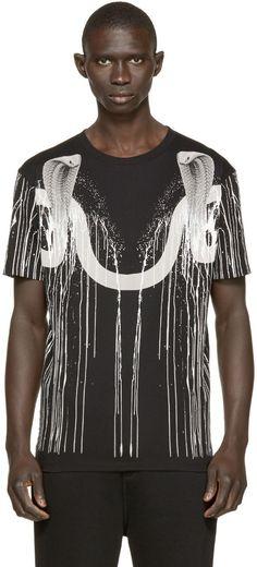 Marcelo Burlon County of Milan - Black Snake Print Calafate T-Shirt: