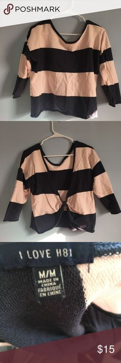 Forever 21 scoop back sweater Heritage 81 for forever 21  pink and blue stripped sweater Quarter sleeve length Scoop back Forever 21 Sweaters