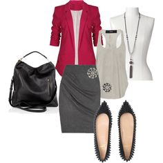 Get this look with CAbi Spring '13 Hot Pink Blazer , Fall '12 Faux Wrap skirt in charcoal or pair with Fall '12 Grey Cozy Cowl dress.