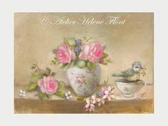 Baby Blue Tit, antique rose bouquet, branche de cerisier en fleurs, peinture à l