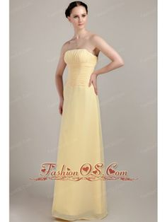 Light Yellow Column / Sheath Strapless Floor-length Chiffon Ruch Bridesmaid Dress- $88.98  http://www.fashionos.com  http://www.facebook.com/quinceaneradress.fashionos.us  Simple is the word written all over this dress.The asymmetrically bodice is accented with ruches.The floor lenghten skirt contours your figure.If you're looking for a high-end dress without the high-end price tag, this is definitely one you should consider.