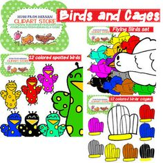 108 COLORED BIRDS CLIPART FULL SET (9 SETS) FOR PERSONAL AND COMMERCIAL USE - TeachersPayTeachers.com