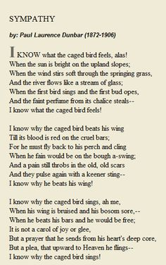 I know what  the caged bird feels ... SYMPATHY by Paul Laurence Dunbar (1872-1906)