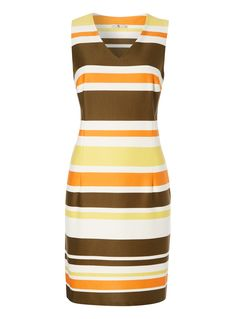 Make a classic addition to your wardrobe with this striped dress. Multicoloured striped ponte dress Stripe pattern Fitted waist V neckline Model's height is 5'11