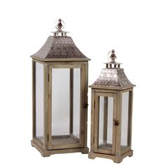 Wooden/Metal Lantern (Set of Two) | Overstock™ Shopping - Great Deals on Urban Trends Collection Accent Pieces