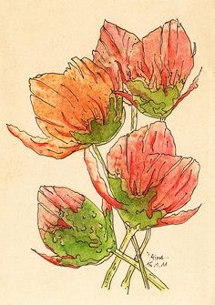Poppy Flowers - Potato Print - Unique