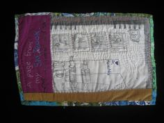 Maggie Muth - NARRATIVE EMBROIDERY: a stitched sketchbook page. Made with vintage fabric scraps and lots of other stuff.