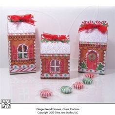 Printable Gingerbread Cottage Boxes for filling up with treats, cookies, candies and small gifts.  Cut out windows and line with cellophane if desired.  Download includes three different sizes, and three different Gingerbread Cottage Boxes by Gina Jane for DAISIE Company, QVC, Valerie Parr Hill Christmas line 2011.