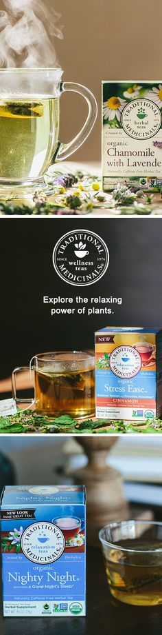 Settle your nerves with our Stress Ease blend. Support your digestive system with a warm cup of Chamomile with Lavender. Or peacefully put the day to sleep by steeping some Nighty Night made with passionflower, chamomile, and more. Explore all of Traditional Medicinals' relaxation teas.