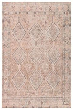 The Kindred collection melds the timelessness of vintage designs with modern, livable style. The Marquesa area rug boasts an elegantly distressed Turkish diamond pattern in contemporary tones of light pink, blue, gold, and brown. This low-pile rug is made Pink And Blue Rug, Pink Rug, Blue Gold, Area Rug Sizes, Blue Area Rugs, Jute Rug, Woven Rug, Trellis Rug, Jaipur Rugs
