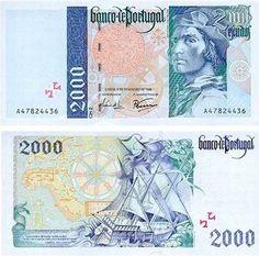 Portugal - 2000 escudos – Bartolomeu Dias Entrada em circulação: 15-02-1996 Retirada de circulação: 28-02-2002