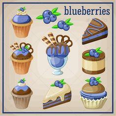 Set of sweets with blueberries vector image on VectorStock Cute Food Drawings, Cute Kawaii Drawings, Cute Food Art, Cute Art, Nail Art Cupcake, Dessert Illustration, Chibi Food, Food Cartoon, Kawaii Stickers
