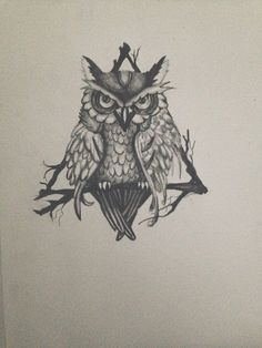 Triangle Owl Drawing tattoo design print by NicAlli on Etsy $12.00