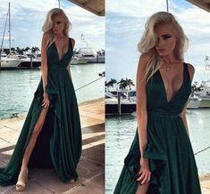 Side Split V Neck Backless Evening Gowns ,Hunter Green Prom Dress, Elegant Long Prom Dresses, Vestido De Festa, Party Dress MT20185879