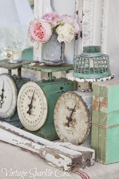 Antique Scales With Decorative Knick Knacks Shabby Chic Project Ideas Shabby Chic Decor #Shabby #Chic #Decor #vintageshabbychickitchen