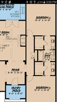 Great jack & Jill bath and closet layout. If hallway not needed, closet/bath wider.
