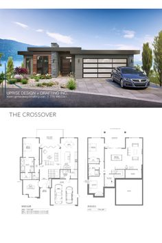 The Crossover Contemporary Main Floor Area: 1793 sqft Lower Floor Area: 1752 sqft Width: including cantilever) Depth: including cantilever) Garage: 2 Storeys: 1 Storey with Walk-Out Basement _____________________________________ Contemporary House Plans, Modern Contemporary, Basement House Plans, Sims House, New Home Designs, Luxury Living, Building Design, Exterior Design, Custom Homes