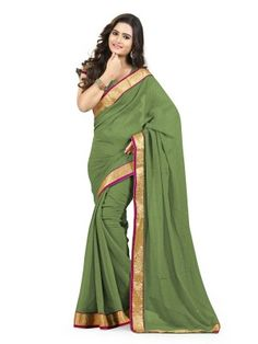 Mehendi Green Chiffon Classy Casual Saree