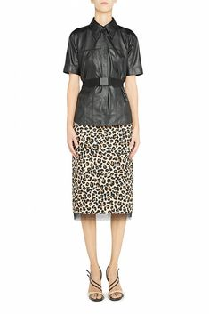 Leopard print pencil-skirt Black tulle hem detail, back slit Zipper and clasp closure on back Printed Pencil Skirt, Pencil Skirt Black, Short Sleeve Dresses, Dresses With Sleeves, Tulle, Dresses For Work, Skirts, Cotton, Women