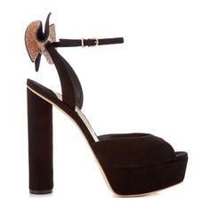 Sophia Webster Raye embellished-bow suede platform sandals ($625) ❤ liked on Polyvore featuring shoes, sandals, bow sandals, strappy shoes, block heel platform sandals, embellished sandals and suede platform sandals