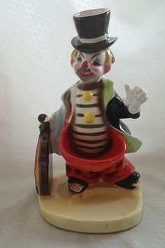 Vintage Vintage Clown with his Violin Ceramic Statue Collectible Penny Catcher Beggar Ring Holder Penny Jar
