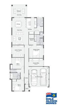 Explore our range of award winning home designs here. Choose your dream home design now with Dale Alcock. Available in Perth or the South-West. Single Storey House Plans, Narrow House Plans, House Floor Design, Home Design Floor Plans, Model House Plan, Dream House Plans, Bungalow Floor Plans, House Floor Plans, Weatherboard House