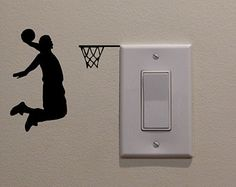 kids living room decor YINGKAI Two Handed Slam Dunk Basketball Player Dunking on Light Switch Decal Vinyl Wall Decal Sticker Art Living Room Carving Wall Decal Sticker for Kids Room Home Window Decoration Wall Decal Sticker, Wall Stickers, Basketball Wall, Man Cave Home Bar, Snowboards, Living Room Art, Home Decor Wall Art, Room Decor, Wall Design