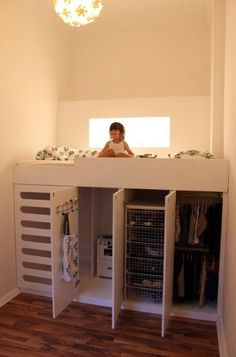 """Ryders small room idea """"Great idea to incorporate into a tiny house plan. Use as closet space or even put washer/dryer under it."""""""