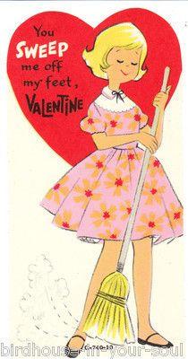 Vintage Valentine Card Sweeping Girl Unused Die-Cut Children Sweep Off My Feet