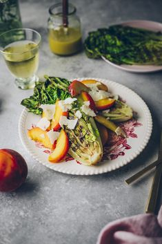 Easy summer lunch—grilled romaine with peaches and pecorino. Grilled Romaine Lettuce, Salad Recipes Gluten Free, Sandwiches, Bbq, Healthy Grilling, Summer Salads, Summer Food, Salad Bar, I Love Food