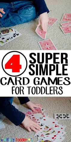 Simple Card Games Four simple card games for toddlers. A great way to pass the time and learn about matching!Four simple card games for toddlers. A great way to pass the time and learn about matching! Family Card Games, Fun Card Games, Card Games For Kids, Playing Card Games, Games For Toddlers, Kids Playing, Simple Games For Kids, Games To Play With Kids, Preschool Games