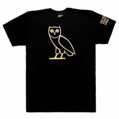 OVO Owl Shortsleeve T-Shirt October's Very Own ($36) ❤ liked on Polyvore featuring tops, shirts, short sleeve shirts, black short sleeve top, black top, owl shirt and shirts & tops