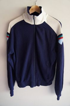 3d2afe28cf3b 70 s Tracksuit Top - Navy Blue   White - Medium   Large - Vintage FREE  SHIPPING (Item T3) Track Jacket Unisex 80s