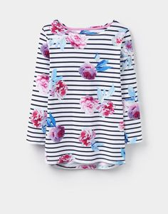Joules Harbour Print Women Jersey Top Navy Beau Bloom Stripe