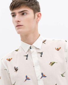 Image 5 of BIRD PRINT COTTON VOILE SHIRT from Zara