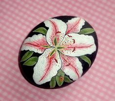 Queen Sophia day lily, garden art, from my private collection, painted rocks by RockArtiste, $75.00
