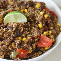 Chipotle Southwestern Quinoa Salad - A spicy, smokey southwestern quinoa style salad made with black beans, corn, lime juice and chipotle peppers.