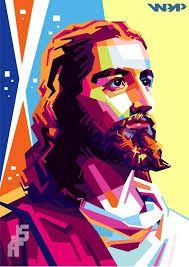 Blessed are those who don't see, but believe - Jesus Pop Art Portraits, Portrait Art, Jesus Painting, Religious Paintings, Jesus Art, Vector Portrait, Jesus Pictures, Portrait Illustration, Grafik Design