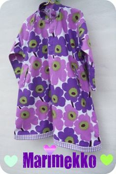 Parallel with the duffelcoat, I have been making this little dress in the purple, white and green Marimekko. 70s Fashion, Modern Fashion, Vintage Fashion, Womens Fashion, Fashion Design, Stylish Dress Book, Stylish Dresses, Marimekko Dress, Cool Style